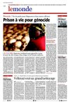081219. Le Soir- Prison  vie pour gnocide