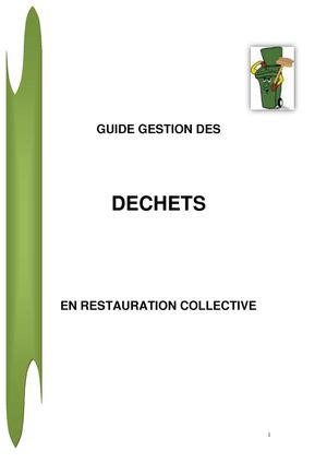 Calam o guide sur la gestion des d chets en restauration for Agent en restauration collective