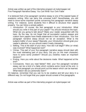 calam o five paragraph narrative essay you can write