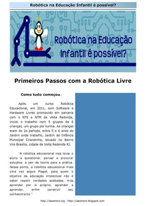 Robótica Educacional Livre na Educação Infantil