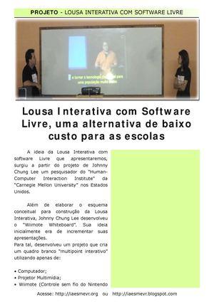 Lousa Interativa com Software Livre, um a alternativa de baixo custo para as escolas