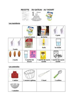 Calam o recette g teau au yaourt avec pictos - Recette d un gateau au yaourt ...