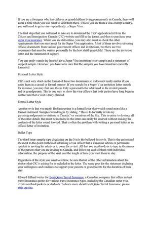 Sample Invitation Letter For Visitor Visa