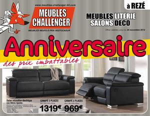 calam o meubles challenger anniversaire. Black Bedroom Furniture Sets. Home Design Ideas