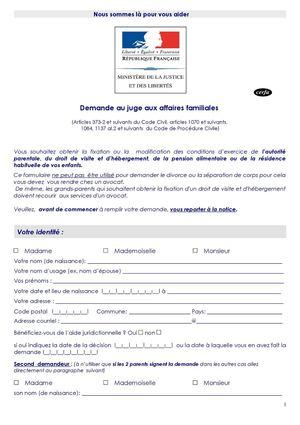 Imprimé-type formulaire requête saisine JAF - Demande au juge aux ...