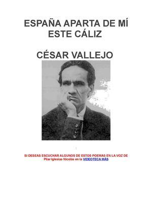 CESAR VALLEJO ESPAÑA APARTA DE MI ESTE CÁLIZ
