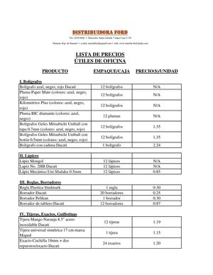 Calam o distribuidora ford lista de precios utiles for Lista de precios muebles de oficina
