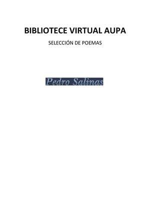 PEDRO SALINAS SELECCIÓN POEMAS