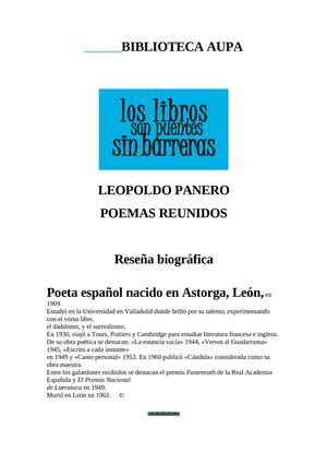 LEOPOLDO PANERO POEMAS REUNIDOS