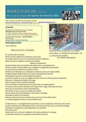 BOLETIN MIERCOLES DE POESIA N 2  OCTUBRE 2013
