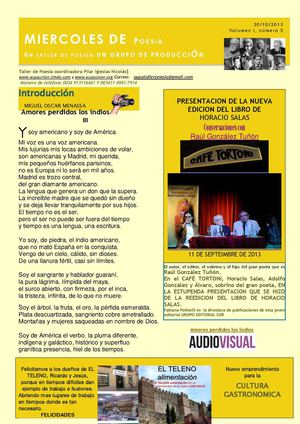 BOLETIN MIERCOLES DE POESIA N 5  30 OCTUBRE 2013