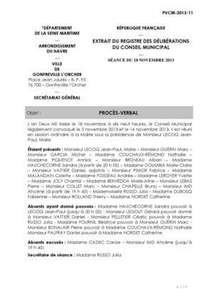 calam 233 o proc 232 s verbal conseil municipal du 18 novembre 2013