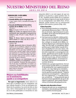 Qué es Escuela De Ministerio Teocratico De 5 De Mayo 2014 La Semana ...