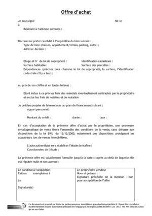 Calam o modele offre d 39 achat for Achat d un maison
