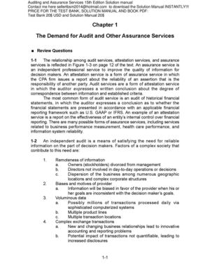 auditing and assurance service 15e test Test ba() 20 $s& sol+tio( %a(+al 20 $s& boo p&f ,0 $s& t  h i s   i s   a   s a m p l e   c h a p t e r auditing and assurance services, 15e ( arens) chapter 1.
