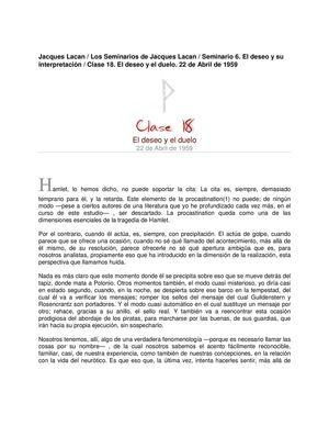 Lacan Seminario 6 Clase18 El Deseo Y El Duelo