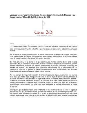 Lacan Seminario 6 Clase20