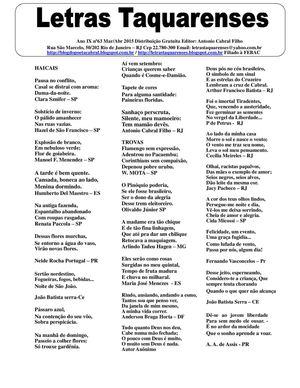 LETRAS TAQUARENSES Nº 63 Março/Abril 2015 * Antonio Cabral Filho - Rj